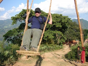Swinging in a village during Dashain - Arun
