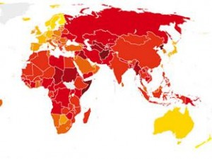 Map of corrupt countries: Nepal in the red