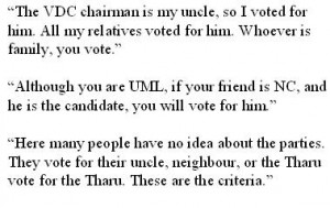 "Voting for your ""own people"": examples of voter comments"