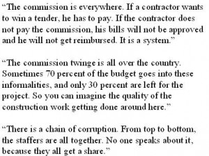 "The commission ""system"": local politician, contractor and staffer comment"