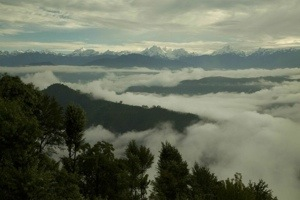 Still a bit lush but not like before: view from the ridge in Saathi-ghar