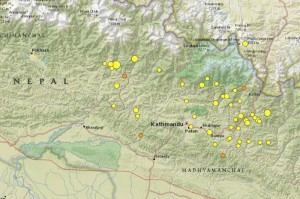 Cascade of aftershocks: size of bullet varies with strength of tremor