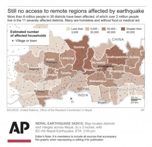 Hundreds of villages: overview of worst-hit districts including only biggest villages (by AP/UN)