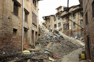 Once a busy village: a Khokana street blocked by rubble