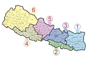 The six provinces as proposed by the four main parties