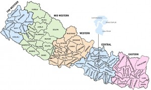 The 75 districts (with colour-indication of Nepal's five regions) hitherto the intermediary level between Kathmandu and village/town level