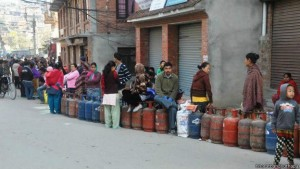 War-like shortage of fuel and basic goods due to the blockade are hitting students hard too: lining up for gas cylinders