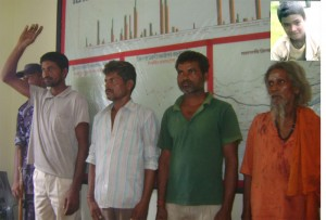 Kodai Harijan, 35, (far left) sacrificed his neigbours 10-year old son (right corner) to cure his own