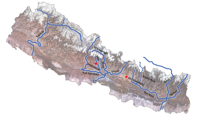 Best white water in Nepal: map of the rivers to raft.