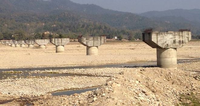 Troubled bridge over Kamala waters in Sindhuli